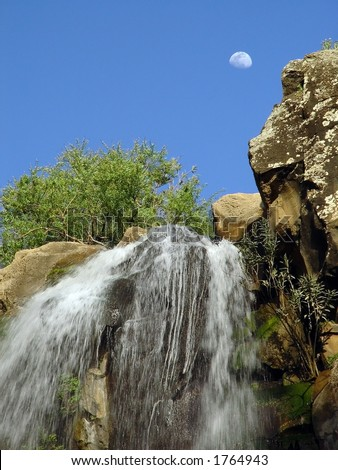 Waterfall - Gilbon Nature Reserve, Golan Heights, Israel. - stock photo