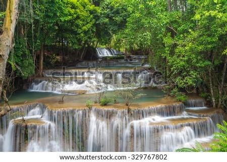 waterfall huay mae khamin in Kanchanaburi province,Thailand - stock photo