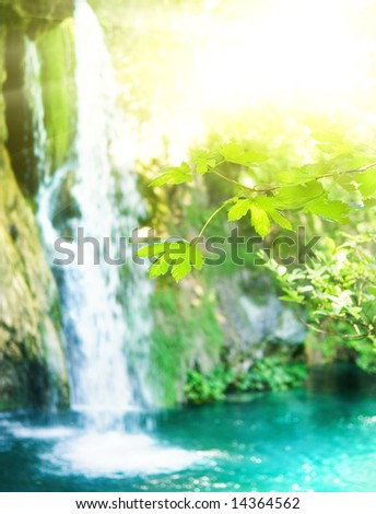 Waterfall in a forest (shallow DoF, focus on a leaves in foreground) - stock photo