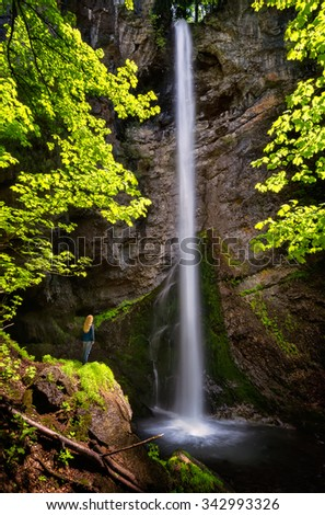 Waterfall in Balkan Mountains. Amazing spring view of the 54 m. Suvcharsko praskalo waterfall in Balkan Mountains, Bulgaria.  - stock photo