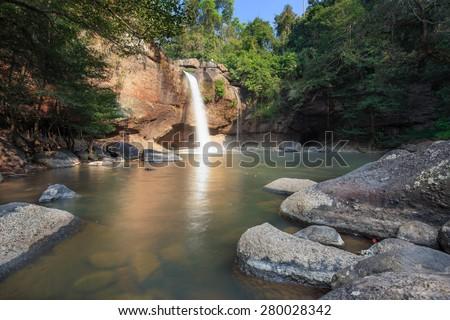 Waterfall in big mountain in Thailand. - stock photo
