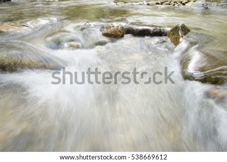 Waterfall in blurring with a flowing waters. Stones are around the waters
