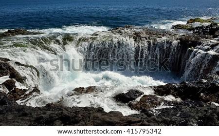 "Waterfall in ""Bufadero La garita"", coast of Gran canaria, Canary islands - stock photo"