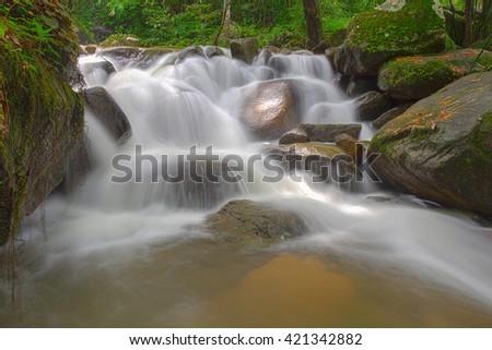 Waterfall in Chanthaburi name is Krating Waterfall - stock photo