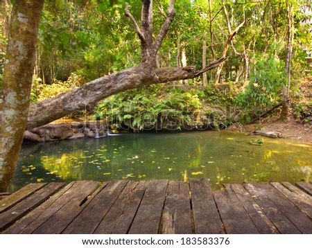 Waterfall in deep forest with old wooden terrace - stock photo