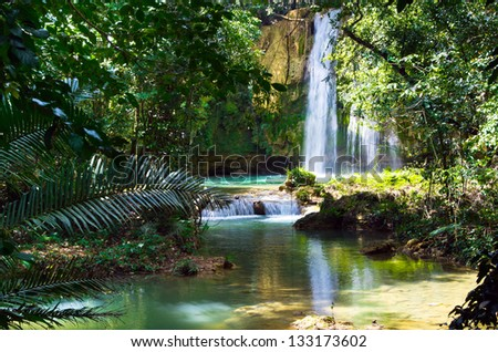 waterfall in deep green forest - stock photo