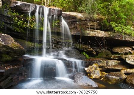 Waterfall in deep jungle, Phu Kradueng National Park, Loei Province, Thailand - stock photo