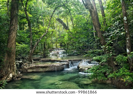 waterfall in Erawan national park , Kanchanaburi , thailand - stock photo