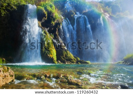 Waterfall in forest. Crystal clear water. Plitvice lakes, Croatia
