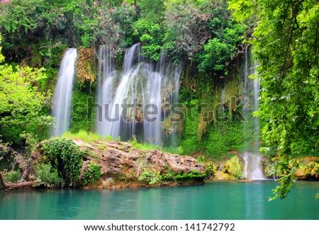 waterfall in forest - Kurshunlu Turkey - stock photo