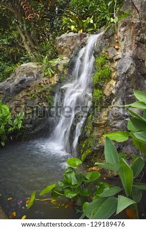 Waterfall in garden, Botanical Garden in Singapore - stock photo