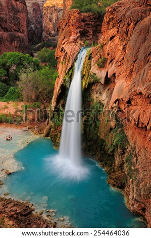 Waterfall in Grand Canyon, Havasu Falls, Supai, Arizona, USA - stock photo