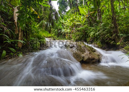 Waterfall in green jungle in Sangkhlaburi Thailand