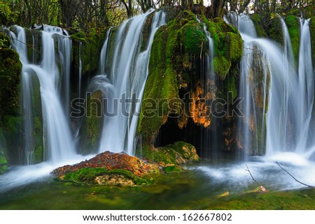 Waterfall in Jiuzhaigou national park, China  - stock photo