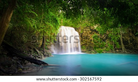 Waterfall in jungle rainforest  - stock photo