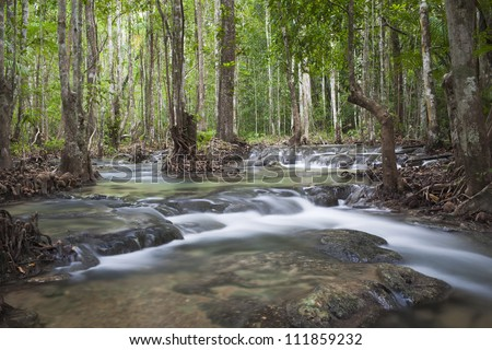 Waterfall in Kraby, Thailand - stock photo