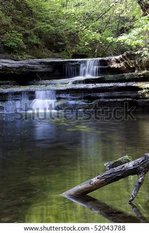 Waterfall in Matthiessen State Park, Illinois - stock photo