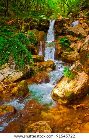 Waterfall in montenegrian forest