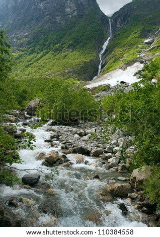 Waterfall in mountains of Norway