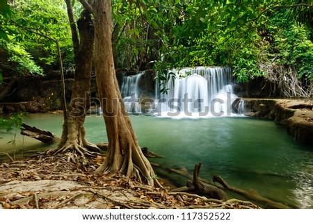 Waterfall in National Park , Kanchanaburi Province , Thailand - stock photo