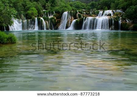 Waterfall in national park Krka, Croatia - stock photo