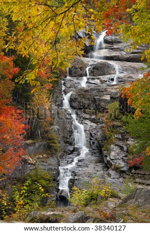 waterfall in new england fall setting