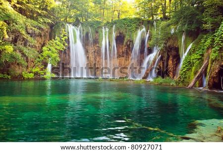 Waterfall in Plitvic? Lakes national park, Croatia - stock photo