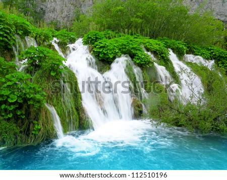 Waterfall in Plitvice National Park, Croatia - stock photo