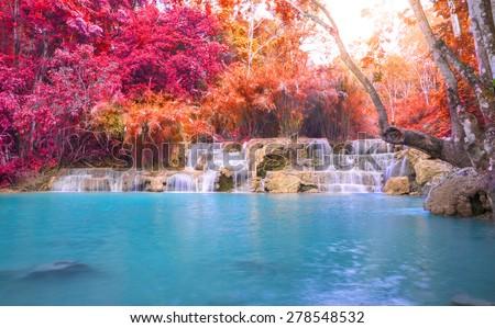 Waterfall in rain forest (Tat Kuang Si Waterfalls at Luang prabang, Laos.) - stock photo