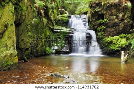 Waterfall in Resov in Moravia, Czech republic - stock photo