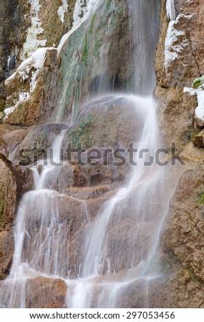 Waterfall in Salinas, Huesca, Aragon, Spain. - stock photo