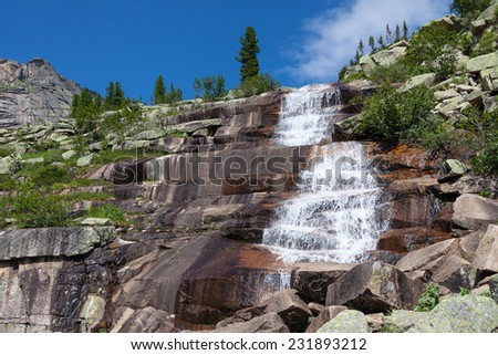 Waterfall in Siberia  - stock photo