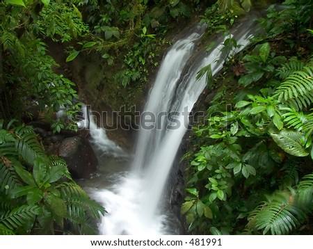 Waterfall in the Chachagua rain forest, Costa Rica - stock photo
