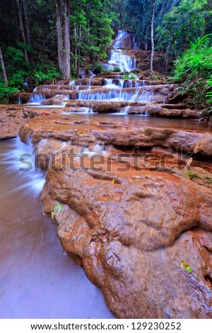Waterfall in the forest of northern Thailand - stock photo