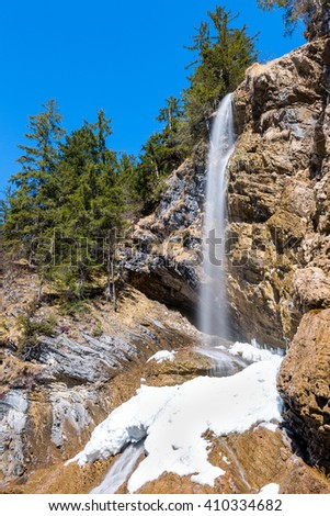 waterfall in the German Alps - stock photo