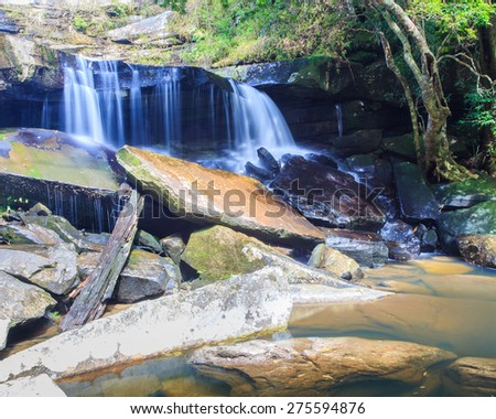 Waterfall In the green forest during autumn at Phu Kradung National Park,Asia Thailand