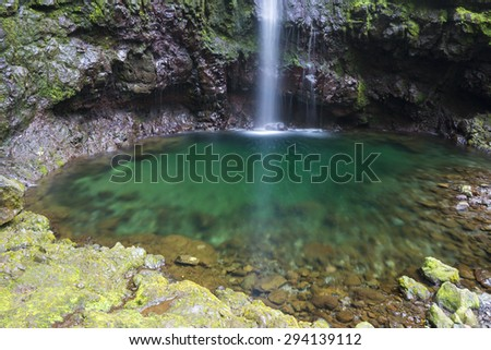 Waterfall in the Levada of Caldeirao Verde, Madeira (Portugal) - stock photo