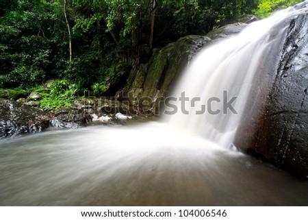 Waterfall in the national park, PaLa U waterfall - stock photo