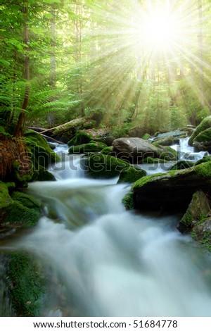 Waterfall in the national park Sumava-Czech Republic - stock photo
