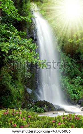 waterfall in the National Park Tercino valley in the mountains Novohradske-Czech Republic - stock photo