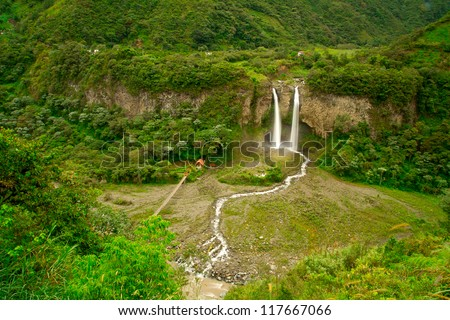 Waterfall in the rainforest - stock photo