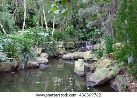 Waterfall in the Roma Street Parklands, Brisbane, Queensland, Australia - stock photo