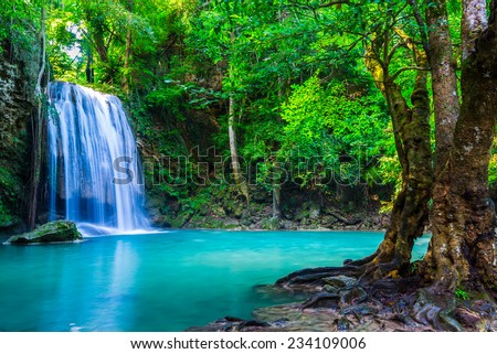 waterfall in the tropical forest where is in Thailand National Park - stock photo