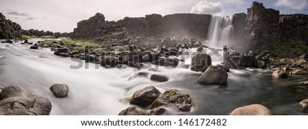 waterfall in thingvellir - stock photo