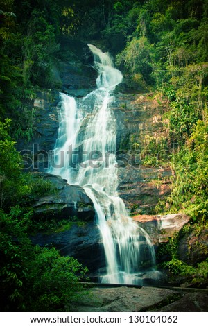 Waterfall in Tijuca National Park in Rio de Janeiro, Brazil - stock photo