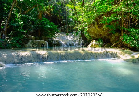 Waterfall in tropical deep forest at Erawan National Park ,Kanchanaburi Province, Thailand