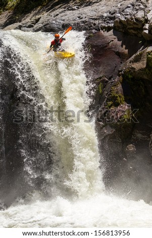 WATERFALL KAYAK JUMP, SANGAY NATIONAL PARK, ECUADOR
