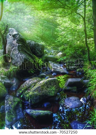 WATERFALL LANDSCAPE - stock photo