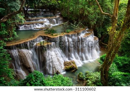Waterfall located in Khuean Srinagarindra National Park, Kanchanaburi, Thailand. - stock photo