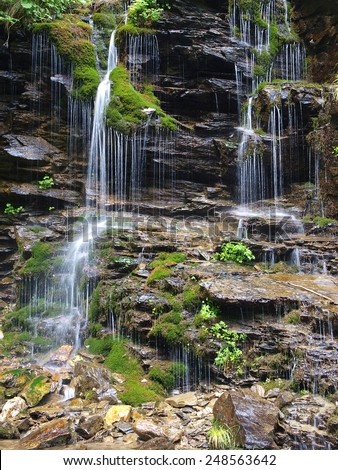 Waterfall long exposure landscape image in in the Protected area Jeseniky mountains, Czech republic - stock photo